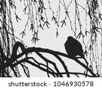 bullfinch on a branch of birch. ... | Shutterstock . vector #1046930578