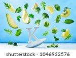 flying foods rich in vitamin k. ... | Shutterstock . vector #1046932576