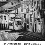 vintage typical tram in the... | Shutterstock . vector #1046935189