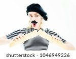 blond woman dressed as a french ... | Shutterstock . vector #1046949226