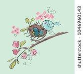 nesting cherry branch | Shutterstock .eps vector #1046960143
