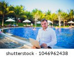 working on laptop from the...   Shutterstock . vector #1046962438