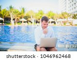 working on laptop from the...   Shutterstock . vector #1046962468