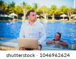 woman distracting from the work ...   Shutterstock . vector #1046962624