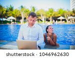 woman distracting from the work ...   Shutterstock . vector #1046962630
