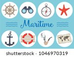 colorful set of maritime icons... | Shutterstock .eps vector #1046970319