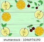 fresh boarder of fruits on... | Shutterstock .eps vector #1046976190