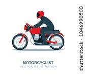 motorcycle rider illustration.... | Shutterstock .eps vector #1046990500