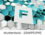 white letter f on the aqua blue ... | Shutterstock . vector #1046991940