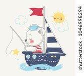 cute bear sailor on the ship... | Shutterstock .eps vector #1046998294