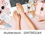 fashion blogger working with...   Shutterstock . vector #1047002164