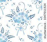 seamless floral pattern with... | Shutterstock .eps vector #1047011524