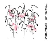 abstract flamingo bird... | Shutterstock .eps vector #1047025063