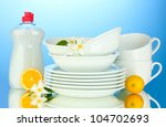 empty clean plates and cups... | Shutterstock . vector #104702693