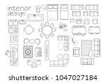 interior design floor plan... | Shutterstock .eps vector #1047027184