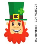 cartoon leprechaun smiling.... | Shutterstock .eps vector #1047035224
