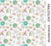 seamless pattern with cartoon... | Shutterstock .eps vector #1047037984