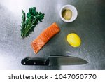 rosemary  salmon  lemon  and... | Shutterstock . vector #1047050770