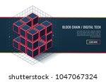 blockchain technology concept.... | Shutterstock .eps vector #1047067324