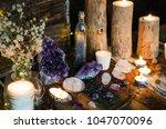 mystical amethyst altar | Shutterstock . vector #1047070096