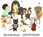 dog and cat concert. children...   Shutterstock .eps vector #1047070240