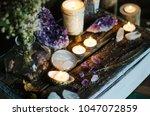 mystical altar candles | Shutterstock . vector #1047072859