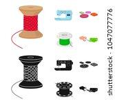 thread reel  sewing machine ...   Shutterstock .eps vector #1047077776