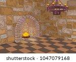 illustration of medieval castle ... | Shutterstock .eps vector #1047079168