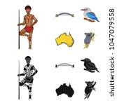 aborigine with a spear  sydney... | Shutterstock .eps vector #1047079558