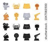 gold pistol  silver prize for... | Shutterstock .eps vector #1047083500