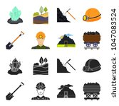 a shovel  a miner  an entrance... | Shutterstock .eps vector #1047083524