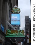 "Small photo of NEW YORK CITY, MANHATTAN - March 11 2018: Dear Evan Hansen At Music Box Theatre On Broadway - Winner Of 6 Tony Awards, Best Musical, Staring Ben Platt, ""You Will Be Found"", Posters Outside Venue"