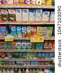Small photo of Bangkok, Thailand - March 14, 2018: A shelf of dairy products in 7-11, a famous convenient store with over 10,000 across the country.