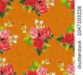 seamless floral pattern rose... | Shutterstock .eps vector #1047103228