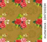 seamless floral pattern rose... | Shutterstock .eps vector #1047103234