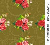 seamless floral pattern rose... | Shutterstock .eps vector #1047103240