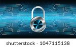 safety concept  closed padlock... | Shutterstock .eps vector #1047115138