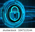 safety concept  closed padlock... | Shutterstock .eps vector #1047115144