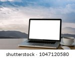 empty space wooden desk with on ...   Shutterstock . vector #1047120580