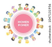 group of women for woman power  ... | Shutterstock .eps vector #1047131956