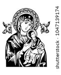 our lady of perpetual help... | Shutterstock .eps vector #1047139174