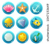 vector game icons with seashell ... | Shutterstock .eps vector #1047153649