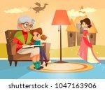 vector cartoon grandmother... | Shutterstock .eps vector #1047163906