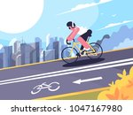 cyclist wearing headphones on...   Shutterstock .eps vector #1047167980