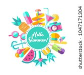 hello summer. vector... | Shutterstock .eps vector #1047171304