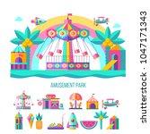 amusement park  roundabout. ...   Shutterstock .eps vector #1047171343