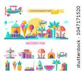amusement park  roundabout. ... | Shutterstock .eps vector #1047171520