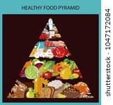 food pyramid. healthy food  ... | Shutterstock .eps vector #1047172084