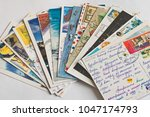 pile of written postcards.... | Shutterstock . vector #1047174793