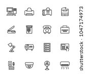 line icon set related to office ...